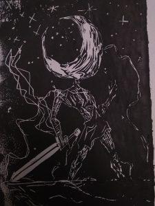 Mosadi art piece - _Astronomical Warrior_